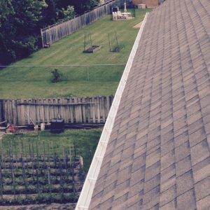 View from roof of clean eavestrough after services completed on a Toronto home