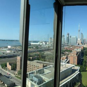 View from downtown Toronto condo after interior window cleaning service