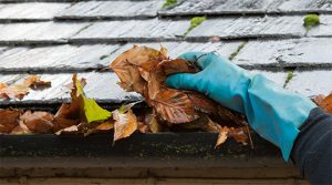 man cleaning eavestroughing of an oakville home
