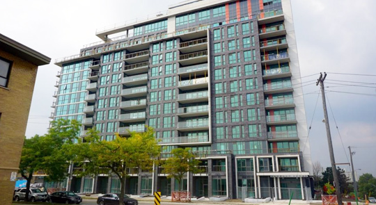 condominium in etobicoke after window cleaning service; shining glass is clearly visible