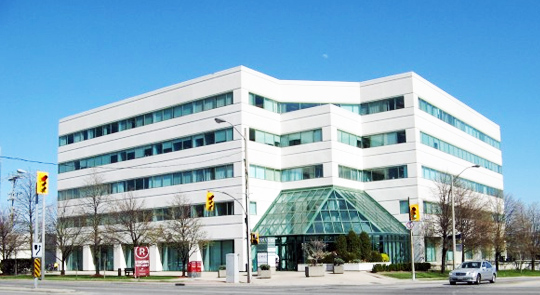 office building in etobicoke after having the windows cleaned, attractive clean windows are visible