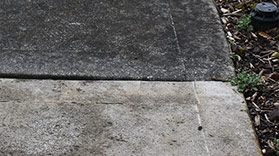 a sidewalk in brampton showing the difference from before and after being cleaned by a pressure washer