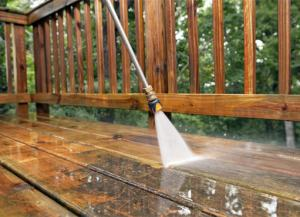 markham power washing service being carried out cleaning a deck