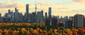 The Toronto city horizon and landscape is shown. A blanket of trees are seen in the foreground changing colours for the coming autumn season, red and yellow leaves are visible.