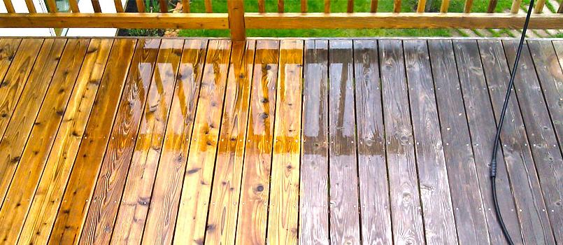 deck being power washed