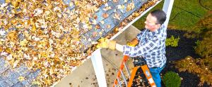 man standing on a ladder while cleaning out his eavestrough, many leaves are visible on the room nearby and a hose is on the ground in the background